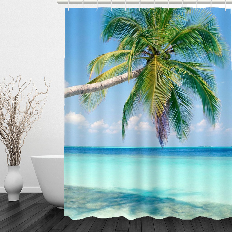 Coconut Pattern Bathroom Curtain Decor Waterproof Polyester Eco-Friendly Shower Curtains 150*180cm 180*180cm drop shipping AP17