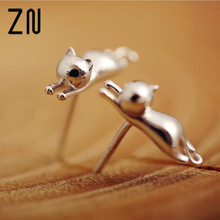 1 Pair Casual Delicate Tiny Silver Color Cute Cats Earrings For Women Girl Chic Stud Earrings