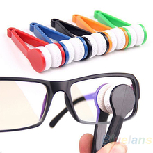 NEW Mini Portable Glasses Eyeglass Sunglasses Spectacles Microfiber Cleaner Brushes BI1I(China)