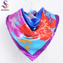 [BYSIFA] Purple Square Scarves 2017 New Style France Brand Silk Scarf Shawl 90*90cm Spring Autumn Ladies Muslim Head Scarf Cape(China)