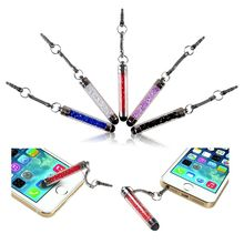 Insten 5pcs Crystal Phone Touch Stylus Mini Diamond Touch Screen Pens with 3.5mm Dust Plug Cap For iPhone Samsung Galaxy Tab(China)