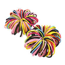 100 Pcs/lot 2mm Mini Small Candy Color Elastic Hair Ties Kids Hair Ropes little girls' Ponytail Holder Accessories