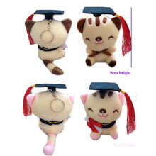 12 pcs/lot, Free Shipping Wholesale 100% Plush graduation cat Hot Graduation Gifts Dr. kitty, plush graduation cat animal doll