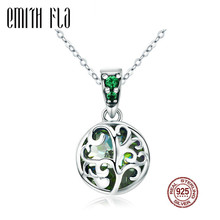 Buy Authentic 100% 925 Sterling Silver Green Crystal Tree Life Tree Leaves Pendant Necklace Women Silver Necklace Jewelry for $12.71 in AliExpress store