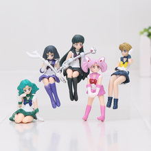 5pcs/Lot Sailor Moon Anime Action Figures Cartoon Movie Table Decoration Anime Figure Kid Toys Gifts Collections Candy Toys
