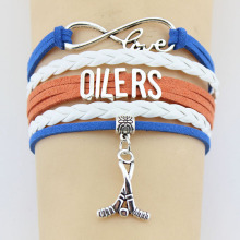Drop Shipping Infinity Love Oilers Hockey Player Bracelet Handmade Sports Team Hockey Team Charm Bracelet Custom Any Themes