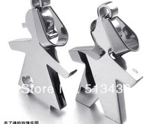 One Pair Stainless Steel Lovely Baby Girls boy Pendant Couple Necklace W chain 29*36mm(China)