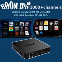a BoomIPTV subscription 2000+Channels Android6.0 C96X Smart tvbox Europe DE FR IT SP UK EX-YU AR TR ALB NL USA qhdtv neotv a95x