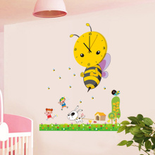 3D DIY Cartoon Wall Clock modern design Bee Sticker /clocks with wall paper decoration for living room bedroom home decor(China)