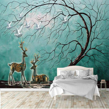 3D Nonwovens Wallpaper for Walls 3d Decorative Vinyl Wall Paper Background hand Painting Mural Wallpapers elk Home Improvement