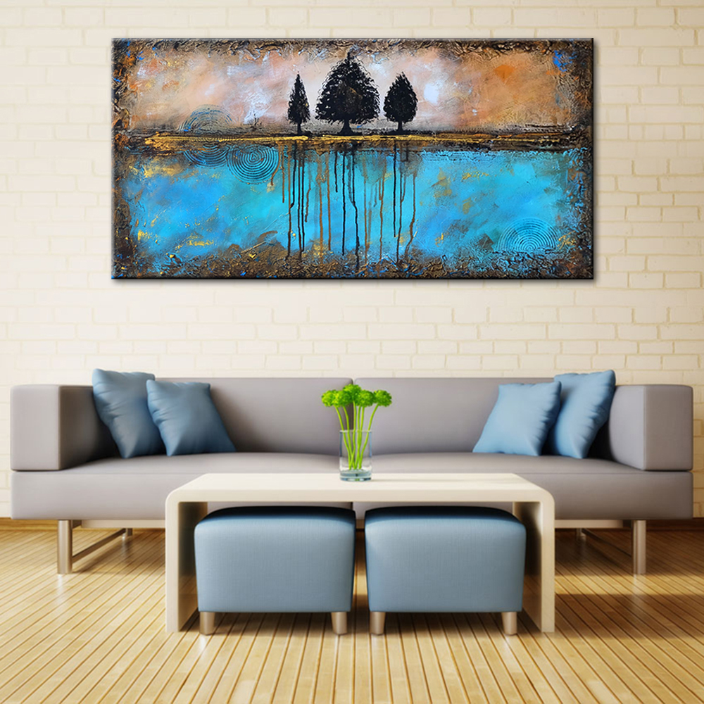 Abstract-Trees-Blue-Water-Hand-Painted-Oil-Painting-Brown-Sky-Canvas-Art-Wall-Decorative-Pictures-Large (2)
