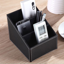 3 Cells Leather Storage Box Desk Decor Stationery Makeup Cosmetic Organizer 2 Colors Phone Holder Organizer Storage Boxes