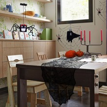 6.16 in*1.8 in Halloween Decoration Black Leaf Table runner for Home Party Decoracion(China)