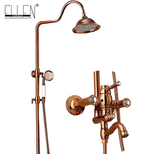 Bathroom Rain Shower Set Rose Gold Finished Luxury Wall Mounted Bath Shower Faucet Copper