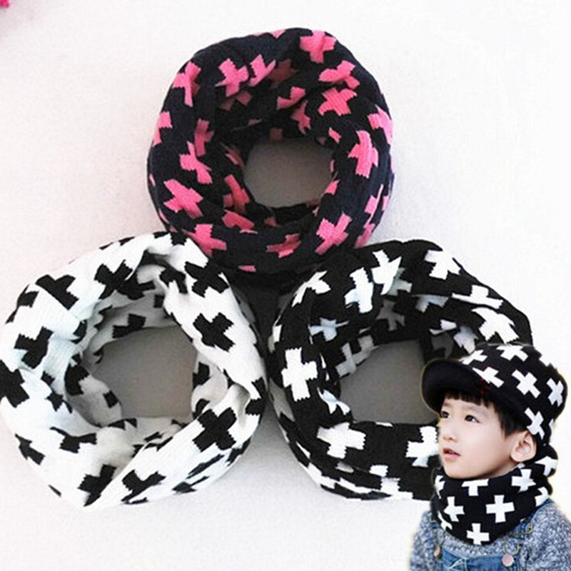 Winter new children's baby wool scarf men women knitting warm scarves cross thick boys girl O ring collar kids neckwear sets