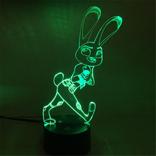2016 Acrylic Animal World Crazy Rabbit Cartoon Colorful Dance Nightlight USB Office LED Table Lamp Child Christmas Gift-64A/B