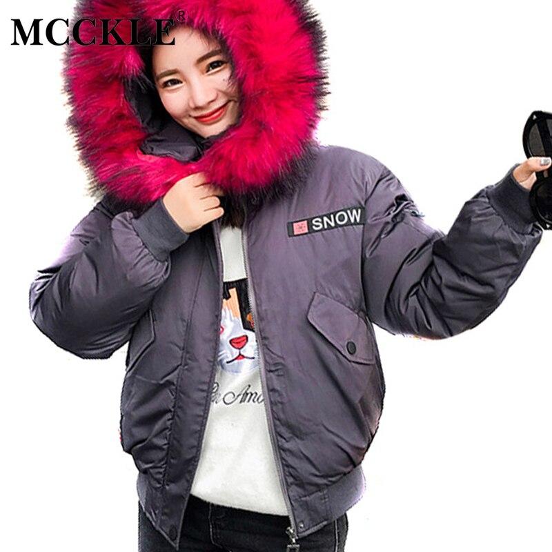 MCCKLE Winter Short Casual Jacket Ladies New Fashion Letter Embroidery Full Sleeve Hooded 2017 Womens Windproof Outwear L-3XLÎäåæäà è àêñåññóàðû<br><br>