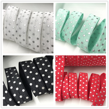 "Buy Silver Foil Polka Dot Print Fold Elastic 5/8"" FOE 10yards/lot White Aqua Black Red Ribbon Hair Accessories for $3.30 in AliExpress store"
