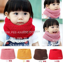 1pc/lot  4 Colors 2014 Winter Children's Muffler Baby Warm Scarf Boy /Girl Knitted O Ring Scarf Kids Shawls Free Shipping