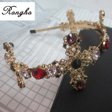 Fashion colorful crystal cross hairbands for women head jewelry 2015 gold headband crowns bridal tiara wedding hair accessories