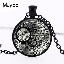 New Steampunk UK drama doctor dr who black line time lord Necklace bronze / silver Glass Pendant jewelry chain iron man HZ1(China)