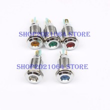 LED Metal Indicator light 10mm waterproof Signal lamp POWE LIGHT 6V 12V 24V 110V 220v red yellow blue green white 10mmXHD.C