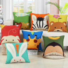 Cute Zoo Linen Cotton CartoonTiger/Pig/Cat/Lion/Bear/Rabbit/Cows Seat Cushion Office Cushion Animal Pillows Decorative