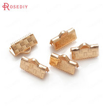 10PCS 7MM 10MM 12MM 15MM 24K Champagne Gold Color Plated Brass Rope Ends Fastener Clasps High Quality Diy Jewelry Accessories(China)