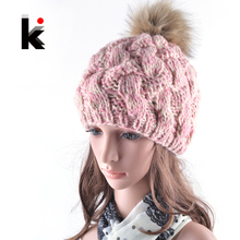 2017 Fashion casual fitted cap female skullies wool winter flower crochet hats gorro wool hat ball caps for woman(China)