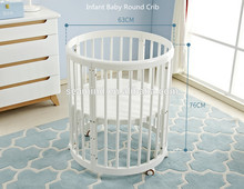 9 in 1 Pine Wood Multi-function Round Baby Crib stroller Furniture wooden convertible