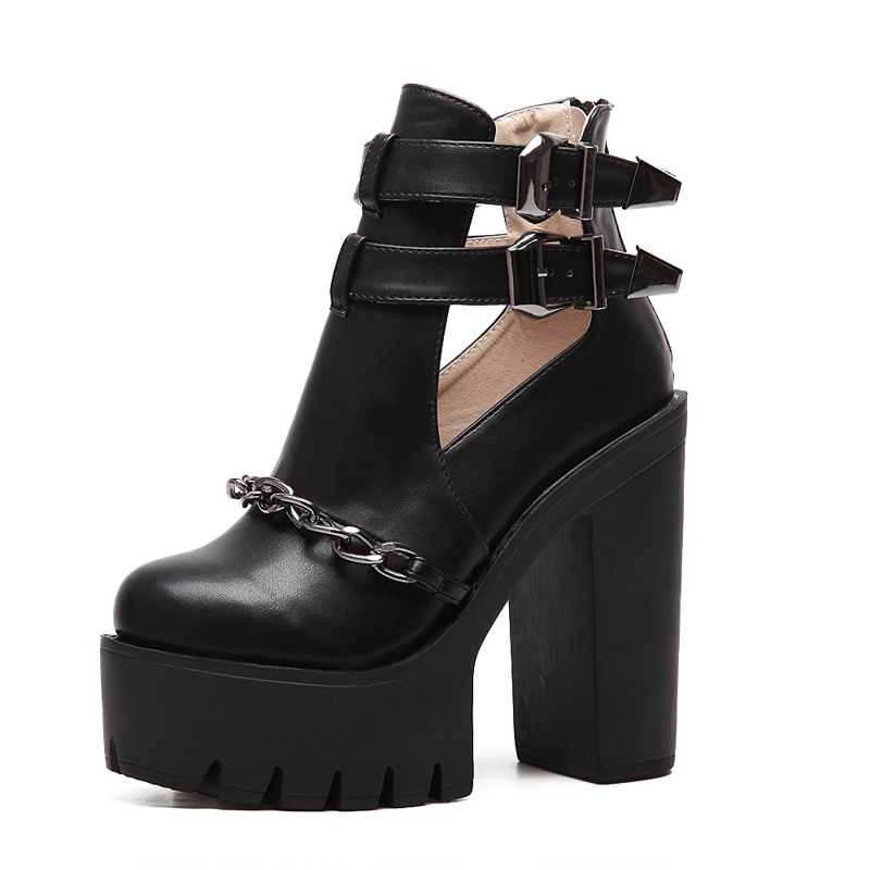 Women Ankle Boots High Heels Buckle High Platform Shoes Fashion Round Toe High Heel Ankle Boots 13cm Summer Black Ankle Boots<br><br>Aliexpress