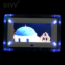 "DIVV Top Grand New 7"" Remote Control TFT-LCD Digital Photo Movies Frame MP3 Player Alarm Clock LED Light Flashing Hot #N52"