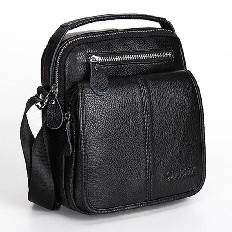 Genuine leather men messenger bag shoulder bag fashion tide brand men classic design high quality phone bag small square package<br><br>Aliexpress