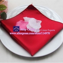 100pcs 45 x 45cm Dark Red Satin Table Napkins Wedding Dinner Cloth Napkins Pocket Handkerchiefs For Hotel Event Decoration