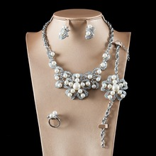 LAN PALACE new dubai jewelry sets ladies simulated pearl  jewellery set earrings necklace ring bracelet free shipping