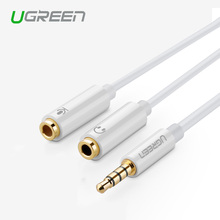 Ugreen Jack 3.5mm Mic + Headphone Splitter Audio Cable Gold-Plated 3.5 mm Jack Aux Cable Cord for Computer Microphone Cellphone