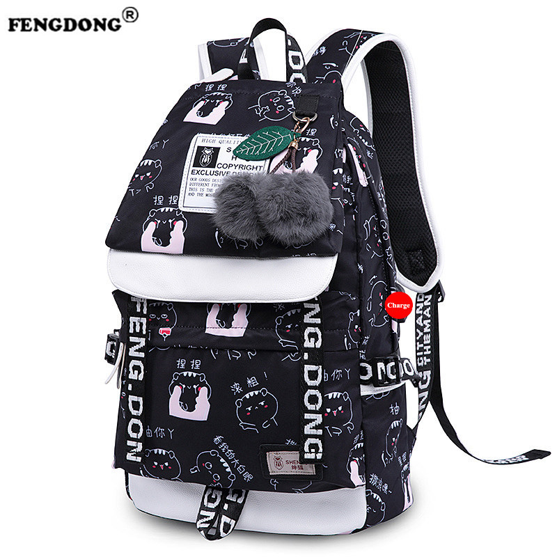 Fengdong Cute Book Bags School Backpacks for Girls fashion women backpack canvas Backpacks Schoolbag for Teenager Girls and Kids<br>