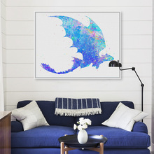 Canvas Printing of Watercolor Train Dragon Pop Movie Art Print Poster Wall Picture Home Decor Painting No Frame pp161(China)