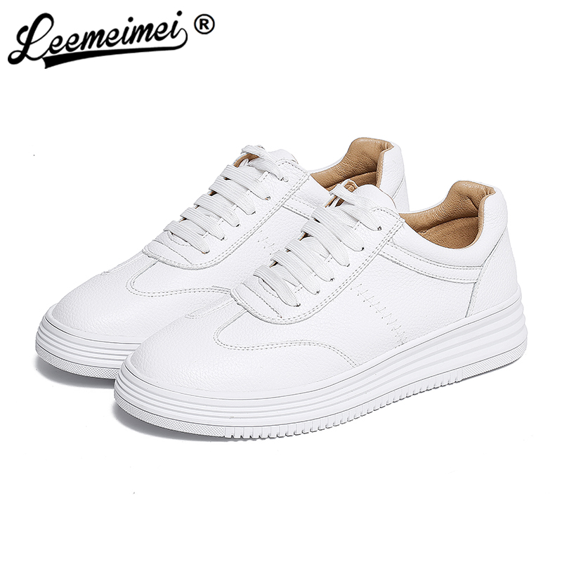 Women White Shoes Autumn Winter Soft Comfortable Casual Shoes Flats Platform Sneakers Real Leather Shoes Sapato Feminino<br>
