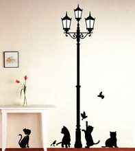 Ancient Lamp Black Cats and Birds Cartoon Wall Sticker DIY Wall Mural Home Decor Kids Baby Room Decals Door Decoration Stikers