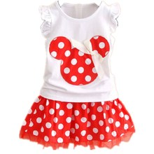 Baby Girls Summer Cartoon Minnie Mouse Clothing Set T Shirt And Skirt Suit C244