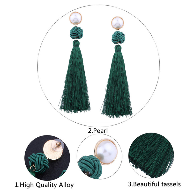 Trendry Earrings for Women Vintage Bohemian Fashion Weave Tassel Earrings Long Drop Earrings Jewelry for gift Brincos J05#N (2)