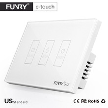 FUNRY US Plug Smart Touch Switch 3 Gang Wall Light Touch Screen Tempered Glass High Sensitivity Dirtproof ST2-3 White/Black/Gold