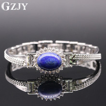 GZJY Fashion Bracelet Gold Color Lapis Lazuli &Zircon Gold Bracelet Bangle For Women Jewelry Party Gift 2colors