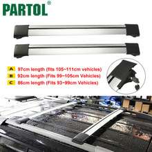Partol Car Roof Rack Cross Bars Roof Luggage Carrier Roof Rail Top Boxes Snowbord Bike Carrier Rack With Anti-theft Lock System(China)