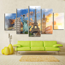 Great Wonders Canvas Painting Printed On Canvas 5 Piece Wall Art Buda Paris London Rome New Yort Design For Living Room Decor(China)