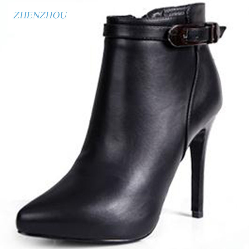 zhen zhou 2017 winter womens new fashion trend leadership Martin boots Plain top high heels exemption from postage<br>
