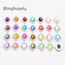 Free shipping 31*25mm acrylic crystal rhinestone buttons flatback can mix colors 100PCS/lot(BTN-5672)
