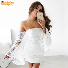Modphy 2017 New Women Sexy Off the Shoulder Long Sleeves Elastic Lace Party Celebrity Club Mini Bandage Dress Drop ship HL738