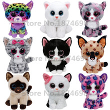 Toy Beanie Boos Cat Plush Stuffed Animals Collection Cute Big Eyed White Gray Black Cats Soft Kids Toys Children Gifts 6''15cm